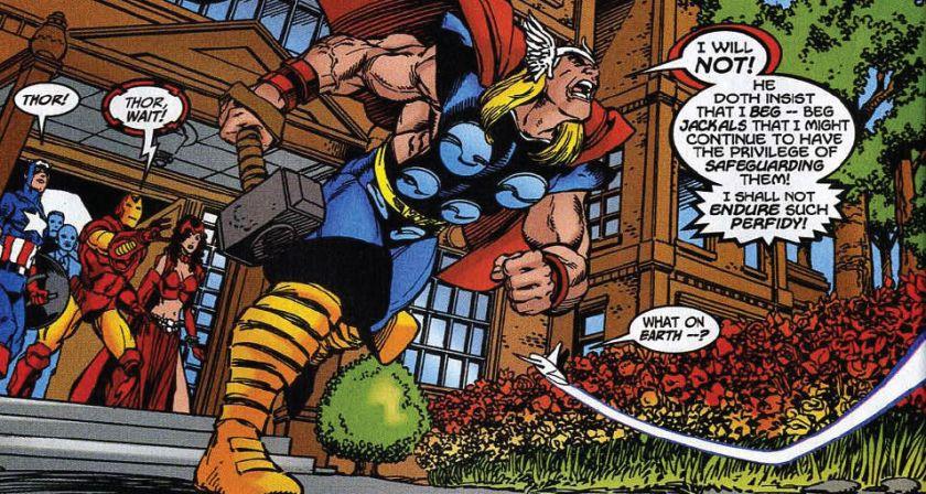 Busiek, Kurt and George Pérez. The Avengers #27 (Apr. 2000), Marvel Comics. Print.